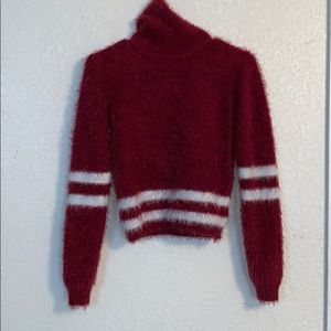 Burgundy and white turtleneck shirt size small